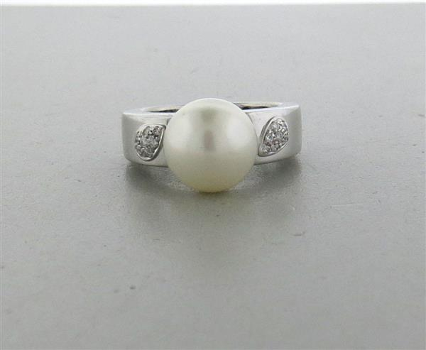 Chimento 18k Gold Diamond South Sea Pearl Ring