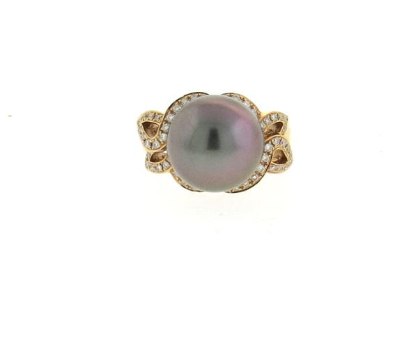18k Rose Gold Diamond Tahitian South Sea Pearl Ring