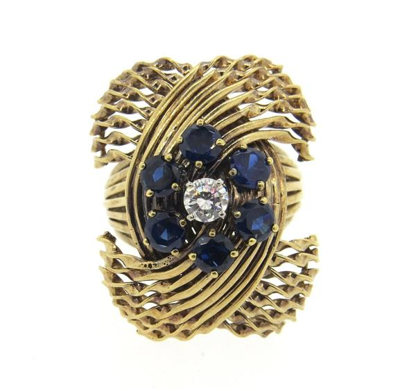 Large French 1960s Sapphire Diamond 18k Gold Ring