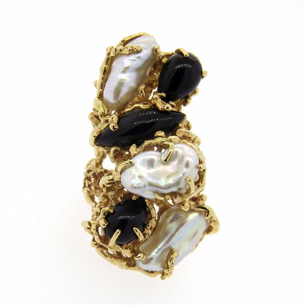 Huge Barbara Anton 1970s 14K Gold Pearl Onyx Free Form Ring