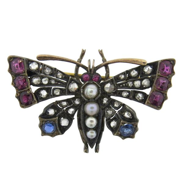 Antique Diamond Pearl Sapphire Ruby Diamond Silver Gold Butterfly Brooch