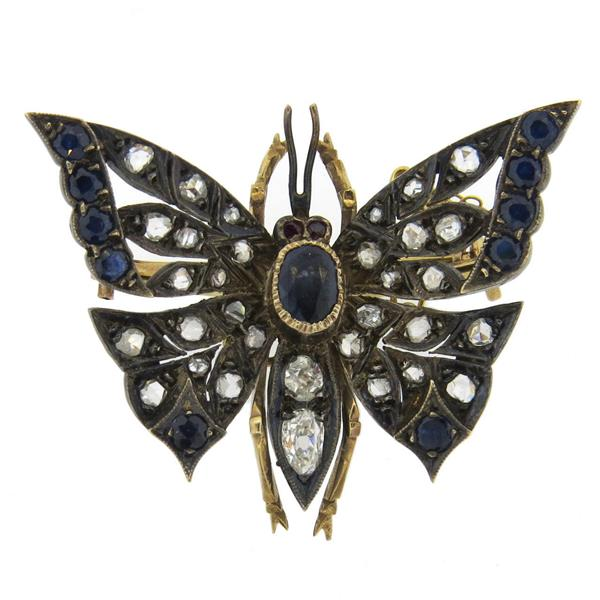 Victorian Antique Sapphire Diamond Silver Gold Butterfly Brooch