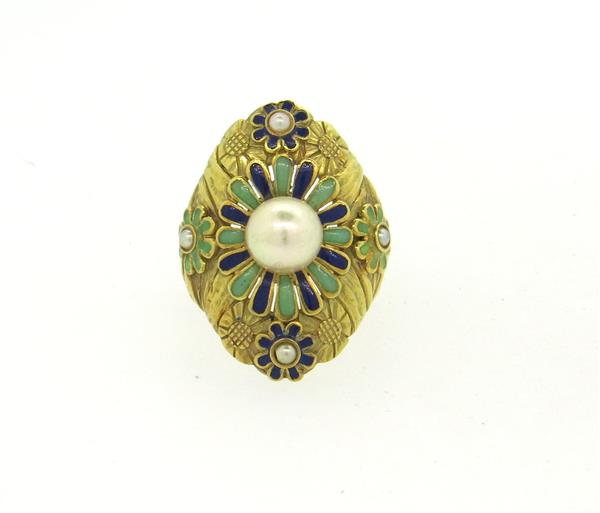 Art Nouveau 18k Gold Enamel Pearl Large Ring