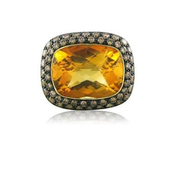 Modern 18K Yellow Gold 11.98ct Citrine Fancy Diamond Cocktail Ring