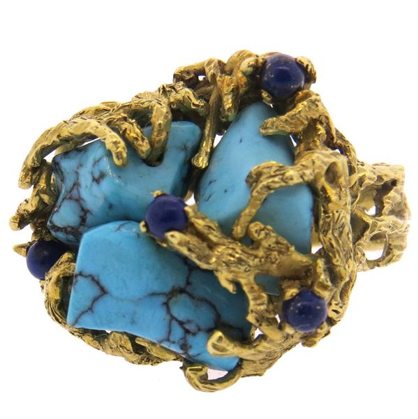 1970s Free Form Turquoise Lapis 18k Gold Ring