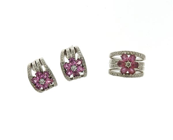 18k Gold Diamond Pink Gemstone Ring Earrings Set