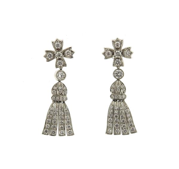 Tiffany & Co Platinum Diamond Tassel Drop Earrings