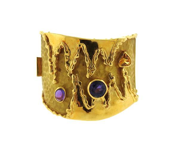Impressive Cetas 18k Gold Gemstone Bracelet