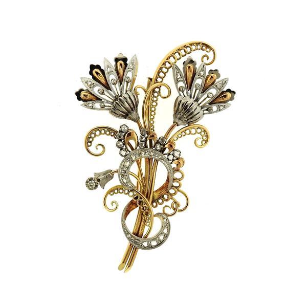 Retro Large 18k Gold Platinum Diamond Brooch Pin