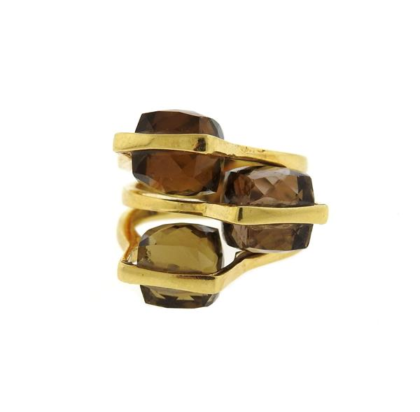 18k Gold Smokey Quartz Ring