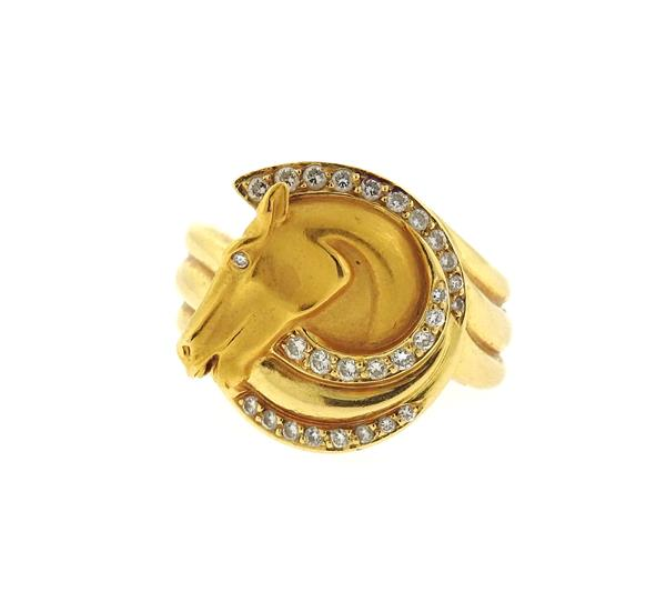 18k Gold Diamond Horse Head Motif Ring