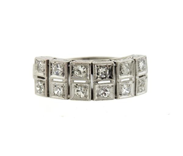 Art Deco Platinum Diamond Two Row Half Band Ring