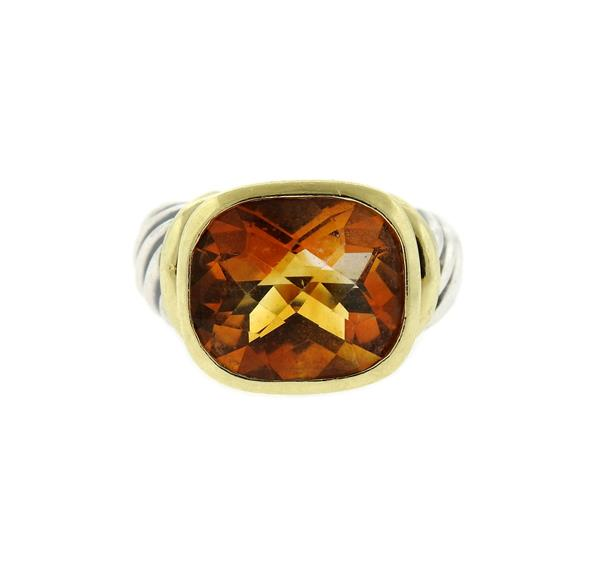 David Yurman Sterling 14k Gold Citrine Cable Ring