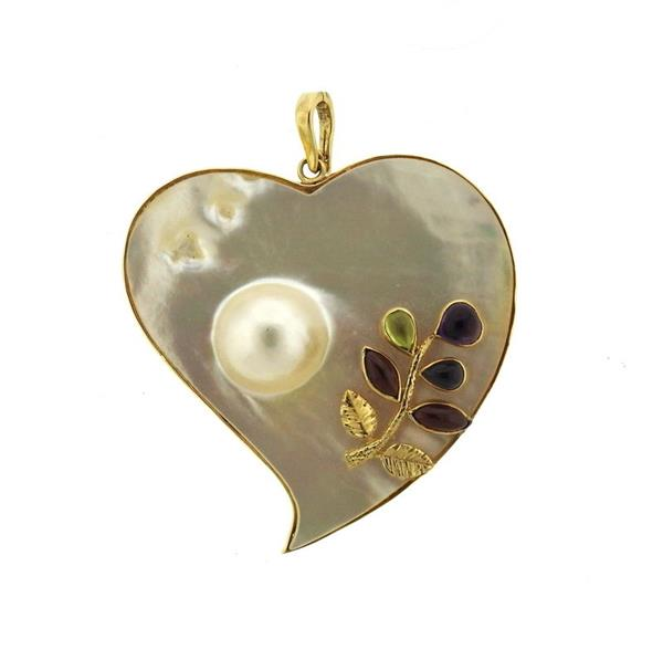 Large 14K Gold Pearl Gem Decorated Pendant