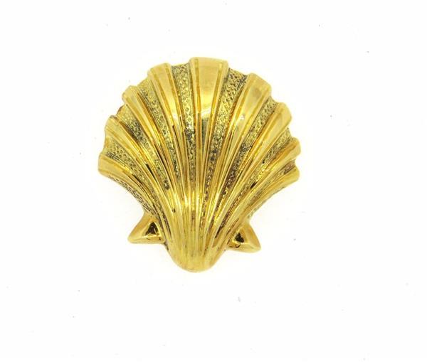 Vintage Tiffany & Co 18k Gold Shell Brooch Pin