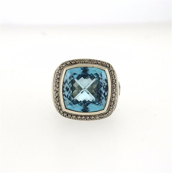 David Yurman Albion Sterling Silver Blue Topaz Diamond Ring