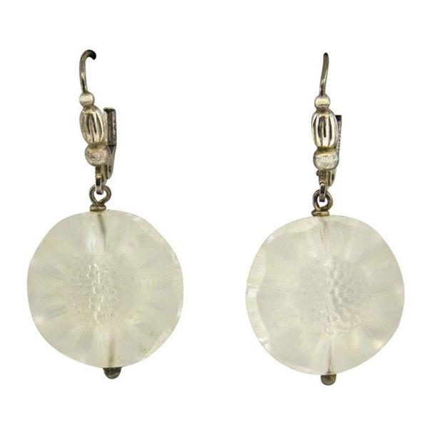Lalique Sterling Silver Carved Glass Flower Drop Earrings