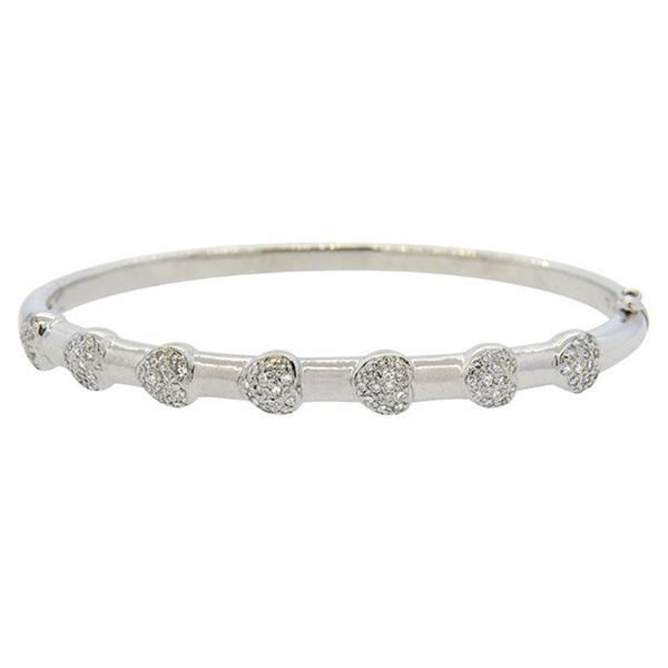 18K White Gold Heart Motif Diamond Bangle Bracelet