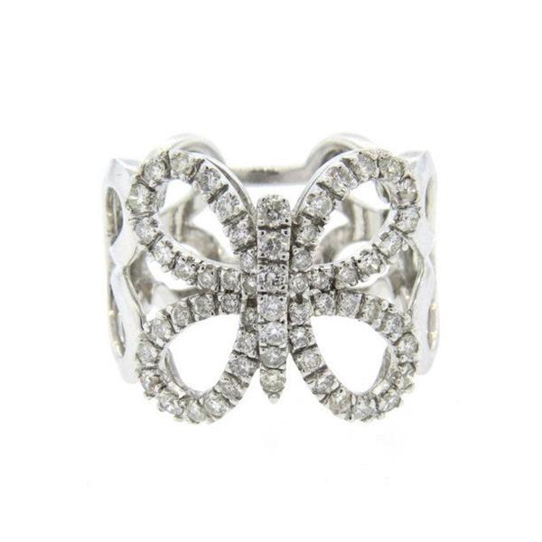18k Gold Butterfly 1.20ctw Diamond Wide Band Ring