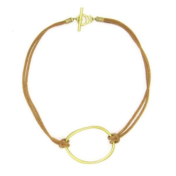 Slane & Slane 18k Yellow Gold Twin Link Leather Necklace