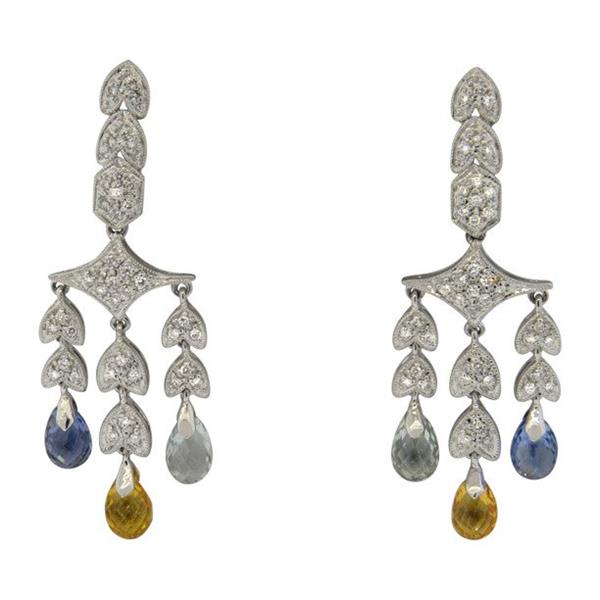 Modern 18K Gold Multi Gemstone Briolette Diamond Chandelier Earrings
