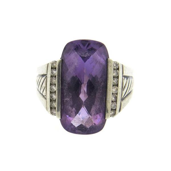David Yurman Sterling Silver Amethyst Diamond Cocktail Ring