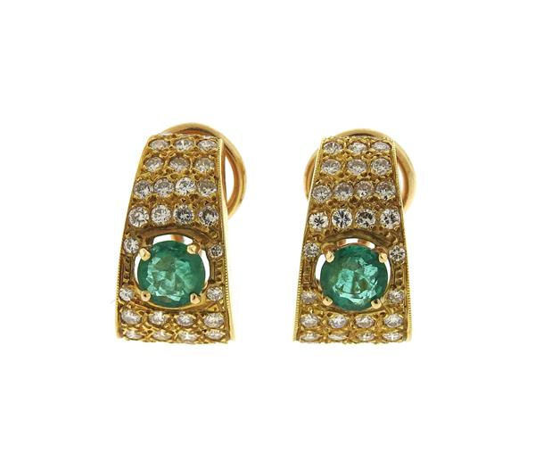 18k Gold Diamond Emerald Half Hoop Earrings