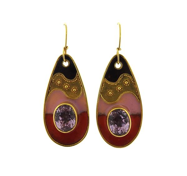22K Gold Kunzite Enamel Drop Earrings