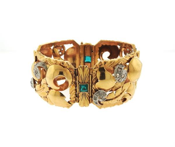 Retro 18k Gold Diamond Green Stone Wide Bracelet
