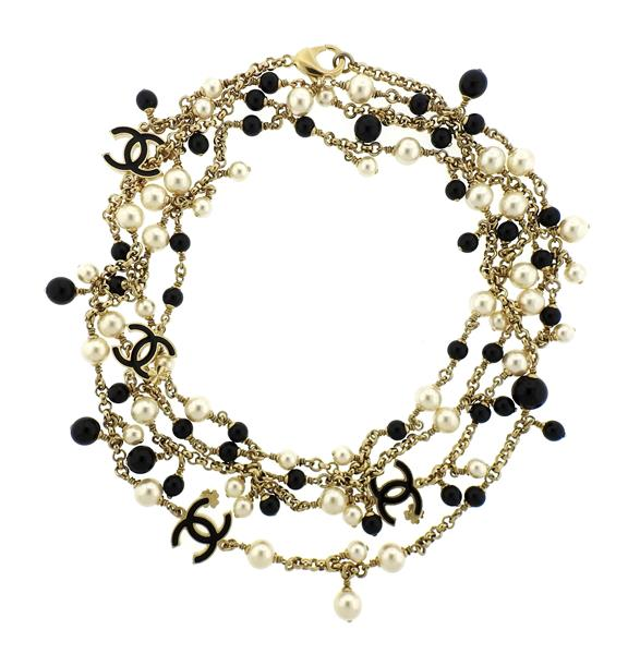 Chanel Black Stone Pearl CC Long Station Necklace