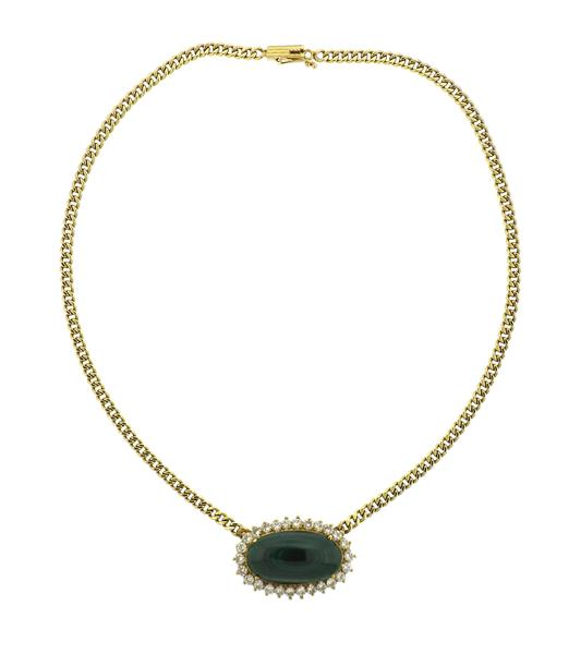 14k Gold Malachite Diamond Pendant Necklace