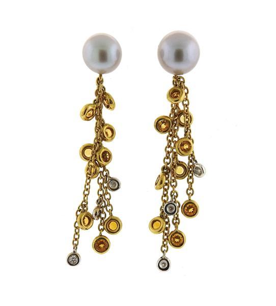 Miseno 18K Gold Pearl Diamond Gemstone Drop Earrings