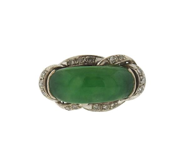 Sterling Silver Diamond Jade Ring