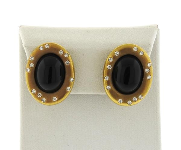 14K Gold Onyx Diamond Earrings