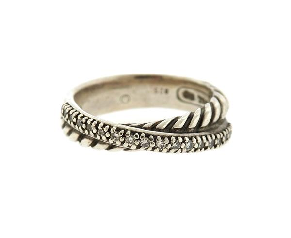 David Yurman Sterling Diamond Crossover Cable Ring