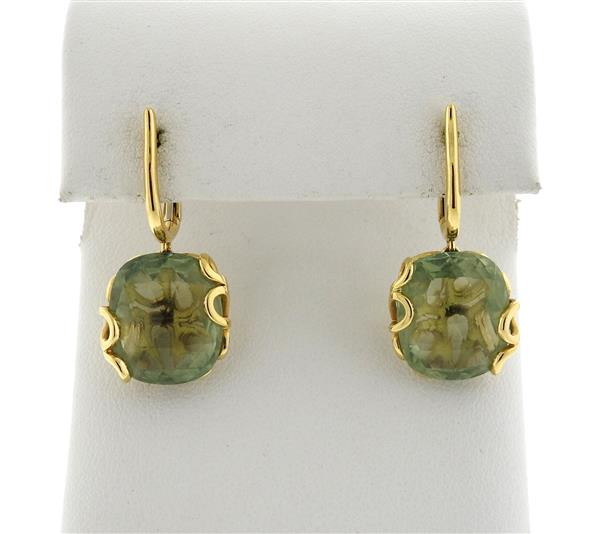 Miseno Sealoaf 18k Gold Green Amethyst Earrings