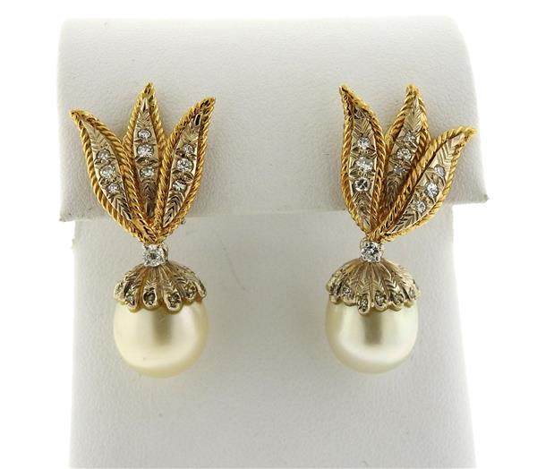 14k Gold South Sea Pearl Diamond Drop Earrings