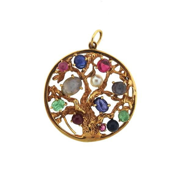 1940s 14k Gold Sapphire Ruby Emerald Pearl Pendant