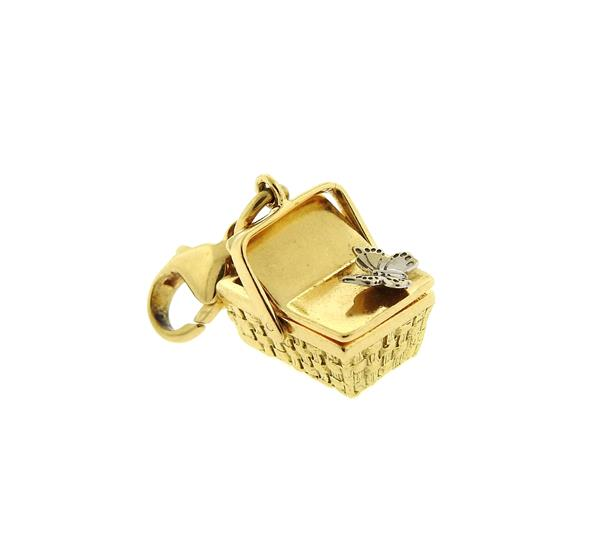 Tiffany & Co 18k Gold Basket 3D Charm Pendant