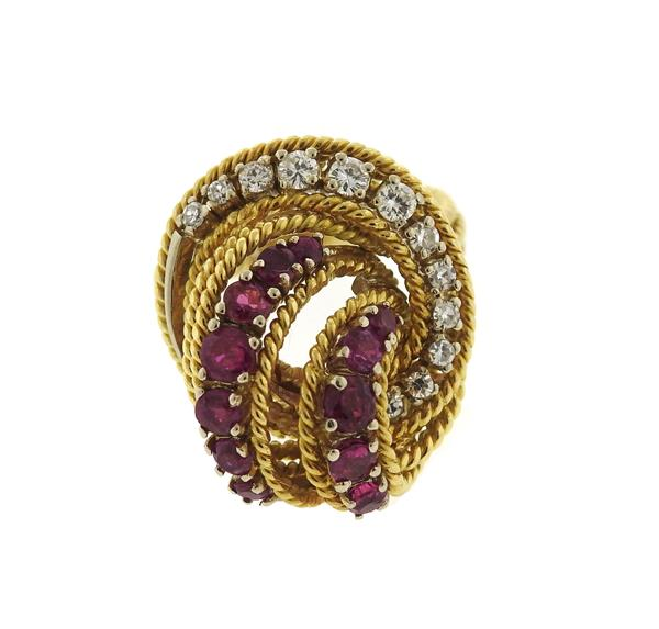 1960s 18k Gold Diamond Ruby Dome Ring