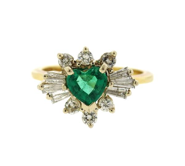14k Gold Diamond Green Stone Heart Ring
