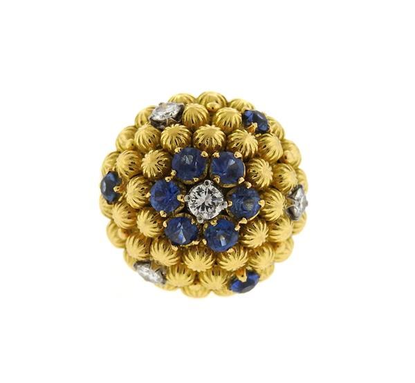 1960s 18k 14k Gold Sapphire Diamond Dome Ring