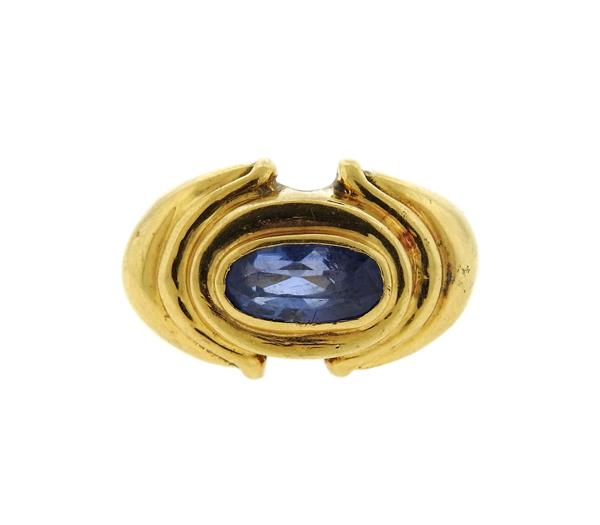 Vintage 18k Gold Blue Stone Ring