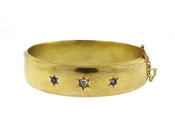Antique Victorian 14k Gold Diamond Bangle Bracelet