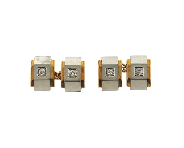 Art Deco 18k Gold Diamond Cufflinks