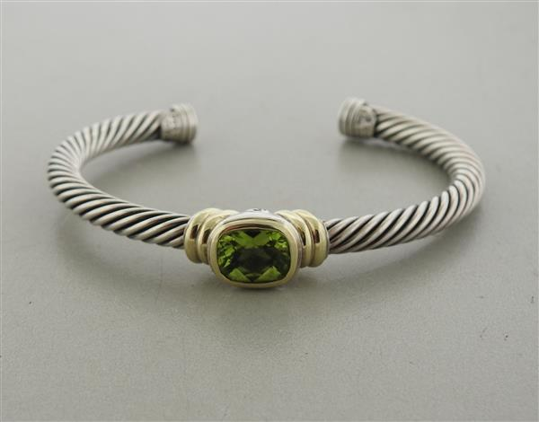 David Yurman Noblesse 14K Gold Sterling Peridot Cable Cuff Bracelet