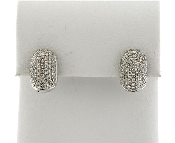 18k Gold Diamond Huggie Earrings