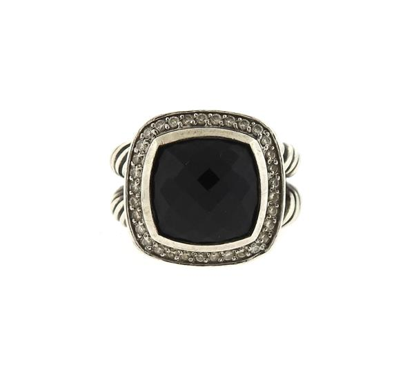 David Yurman Albion Sterling Silver Onyx Diamond Ring
