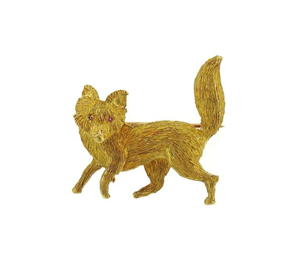 Maurice Guyot 18K Textured Gold Ruby Fox Brooch Pin