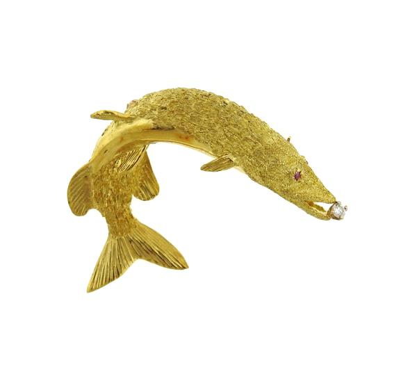 Maurice Guyot 18k Gold Diamond Fish Brooch Pin